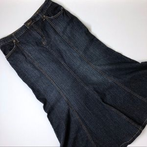 a.n.a. Modest Flare Dark Wash Denim Maxi Skirt